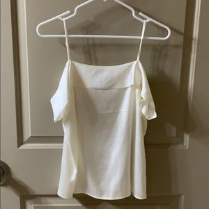 Express off the shoulder ivory satin top